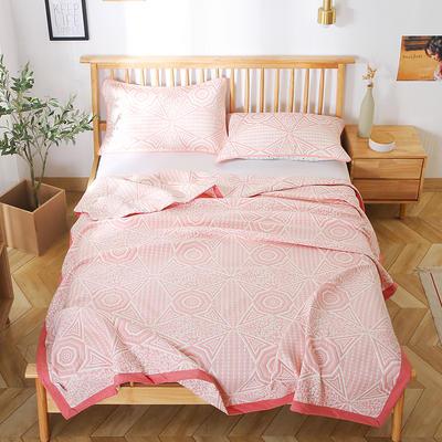 2020新款纯棉纱针织盖毯布毛巾被夏被  枕巾 150x200cm 北欧风情粉