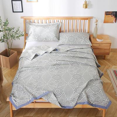 2020新款纯棉纱针织盖毯布毛巾被夏被  枕巾 150x200cm 北欧风情蓝