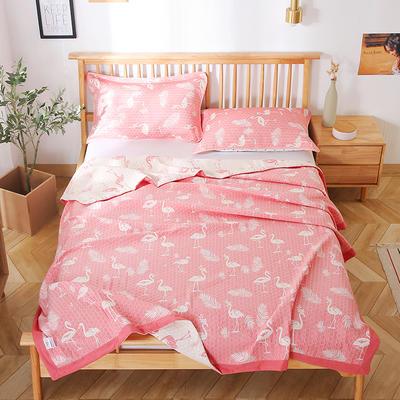 2020新款纯棉纱针织盖毯布毛巾被夏被  枕巾 150x200cm 火鸟粉