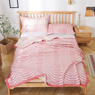 2020新款纯棉纱针织盖毯布毛巾被夏被  枕巾 150x200cm 简单生活粉