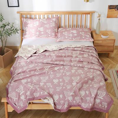 2020新款纯棉纱针织盖毯布毛巾被夏被  枕巾 150x200cm 锦鲤