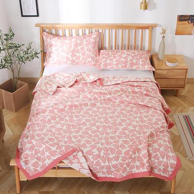 2020新款纯棉纱针织盖毯布毛巾被夏被  枕巾 150x200cm 小草莓粉