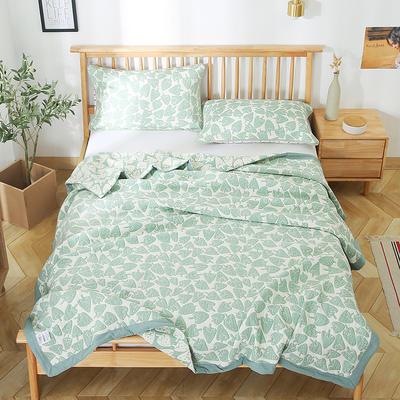 2020新款纯棉纱针织盖毯布毛巾被夏被  枕巾 150x200cm 小草莓绿