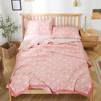 2020新款纯棉纱针织盖毯布毛巾被夏被  枕巾 150x200cm 星星粉