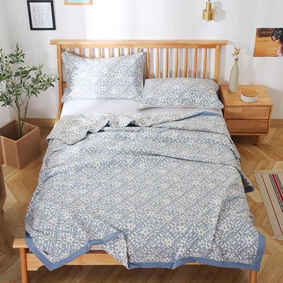 2020新款纯棉纱针织盖毯布毛巾被夏被  枕巾 150x200cm 星星蓝