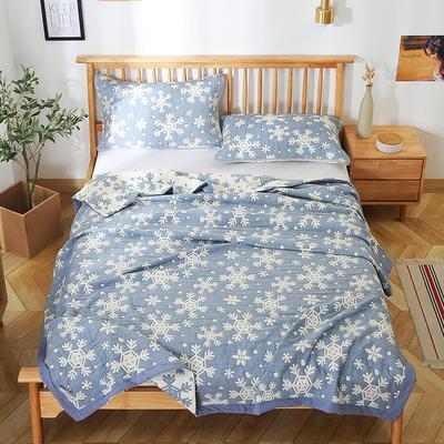 2020新款纯棉纱针织盖毯布毛巾被夏被  枕巾 150x200cm 雪花蓝