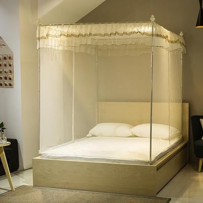 【文不叮】T行双开门坐床式蚊帐——小清新 120*195*150 米黄