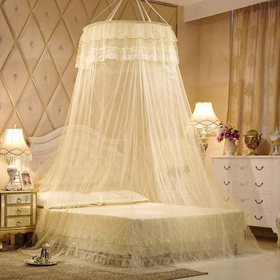 【文不叮】圆形种吊顶蚊帐——镜花缘 2.0床用 米黄