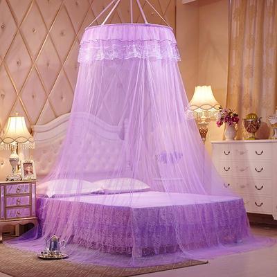 【文不叮】圆形种吊顶蚊帐——镜花缘 2.0床用 紫色