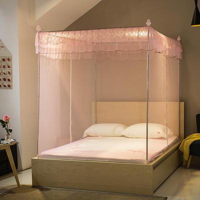 【文不叮】T行双开门坐床式蚊帐——小清新 150*195*150 粉红
