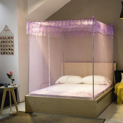 【文不叮】T行双开门坐床式蚊帐——小清新 120*195*150 紫色