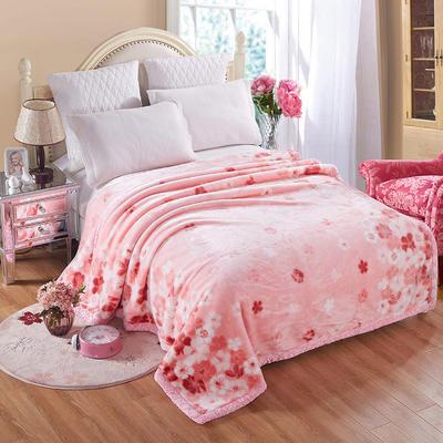 【文不叮】超柔拉舍尔毛毯系列 150*200(4斤) 落英缤纷粉