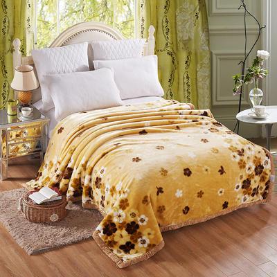 【文不叮】超柔拉舍尔毛毯系列 150*200(4斤) 落英缤纷黄