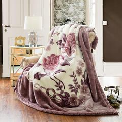 【文不叮】超柔拉舍尔毛毯系列 150*200(4斤) 并蒂花开