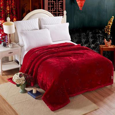 【文不叮】加厚超柔钉花婚庆毛毯 200*230/9斤 玫瑰之夜酒红