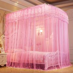 【文不叮】豪华钓鱼竿蚊帐——香榭花都 1.5m(5英尺)床 粉红