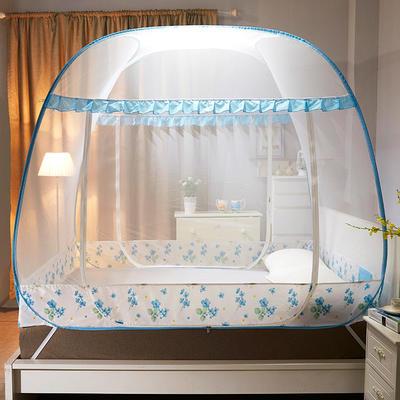 【文不叮】钢丝全自动太空方顶蚊帐——花姿 1.2m(4英尺)床 花姿水蓝