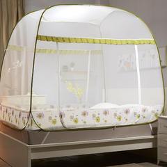【文不叮】钢丝全自动大方顶坐床蚊帐——铃兰雨 1.2m(4英尺)床 黄色