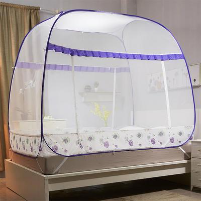 【文不叮】钢丝全自动大方顶坐床蚊帐——铃兰雨 1.2m(4英尺)床 紫色