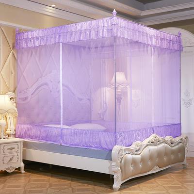 【文不】T型三开门坐床式蚊帐——点点人生 150*195*170 紫色