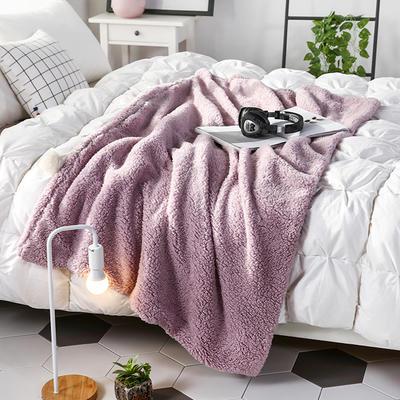 【文不叮】羊羔绒披肩毯 100*160cm 芋紫