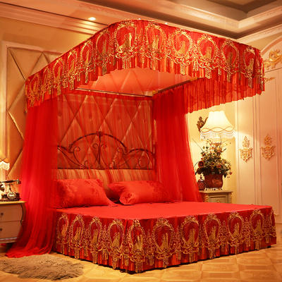 【文不叮】豪华拉幕是导轨婚庆蚊帐——情比金坚 1.5m(5英尺)床 大红