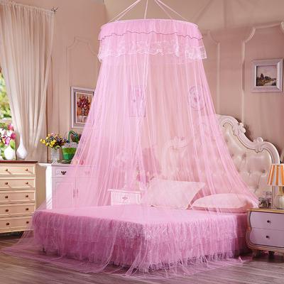 【文不叮】圆形种吊顶蚊帐——镜花缘 2.0床用 粉红