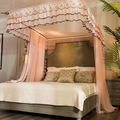 【文不叮】豪华拉幕式导轨蚊帐——素纱曼舞 1.5m(5英尺)床 玉色