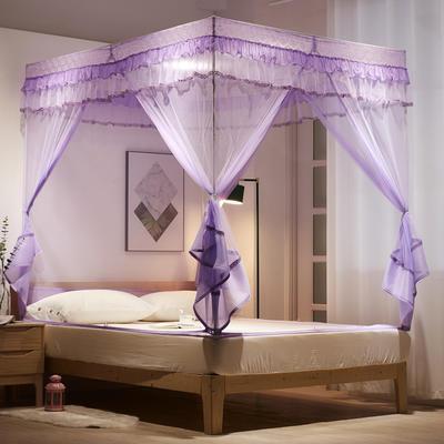 2020新款坐床式浪漫大定蚊帐8018D若枫 1.2米床 紫色