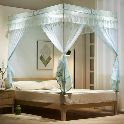 2020新款坐床式浪漫大定蚊帐8018D若枫 1.2米床 水绿