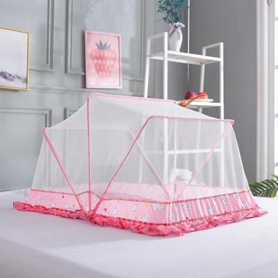 【文不叮】旋转门钢丝全自动儿童蚊帐——童话信使 105*60*52cm 粉红