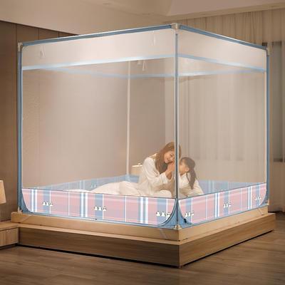 2021新款简约坐床蚊帐(A类)--快乐家族系列 1.5*2.0m 温馨粉
