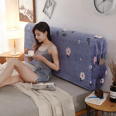 2019新款超柔印花加厚床头罩 1.2m 花飞凤舞-蓝