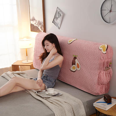 2019新款超柔印花加厚床头罩 1.2m 水果乐园-粉玉