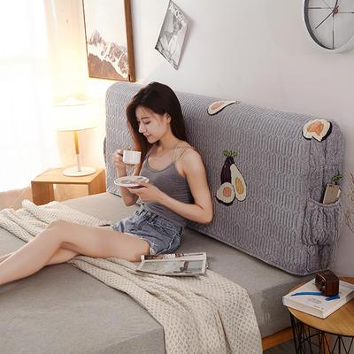 2019新款超柔印花加厚床头罩 1.2m 水果乐园-灰