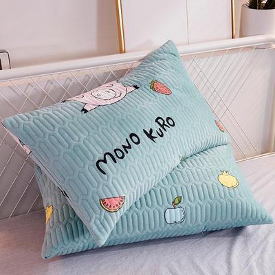 2019新款水晶绒枕套 48cmX74cm 猪乐乐-绿