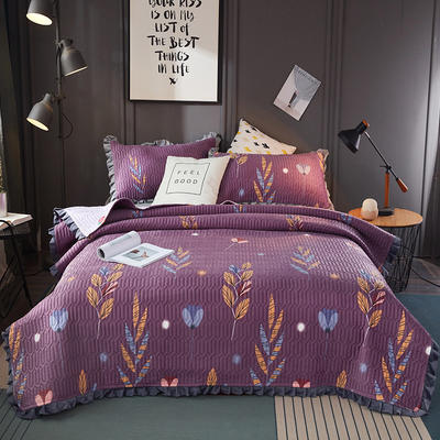 2019新款水晶绒夹棉床盖 150cmx200cm 大麦(紫)