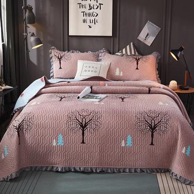 2019新款水晶绒夹棉床盖 150cmx200cm 发财树(咖)
