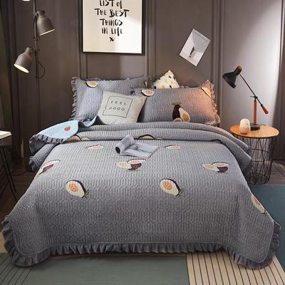 2019新款水晶绒夹棉床盖 150cmx200cm 水果乐园(灰)