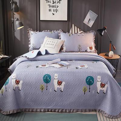 2019新款水晶绒夹棉床盖 150cmx200cm 小羊驼