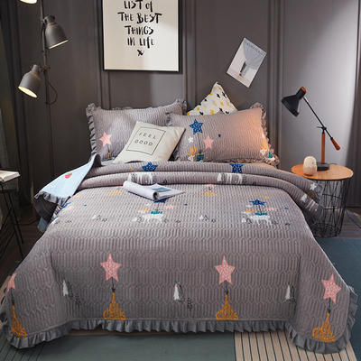 2019新款水晶绒夹棉床盖 150cmx200cm 星空