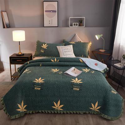2019新款夾棉床蓋 150cmx200cm 楓葉綠