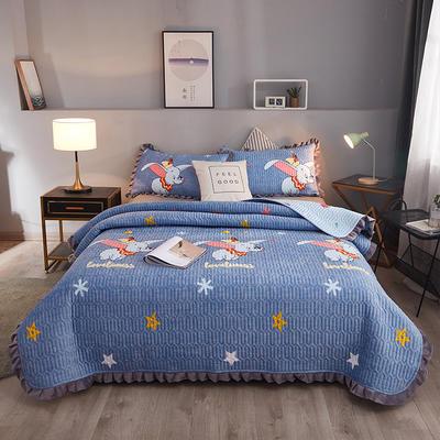 2019新款夾棉床蓋 150cmx200cm 小飛象 藍