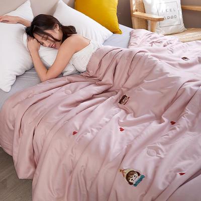 2020新款天丝莫代尔绣花夏被 200X230cm 男孩女孩 粉色