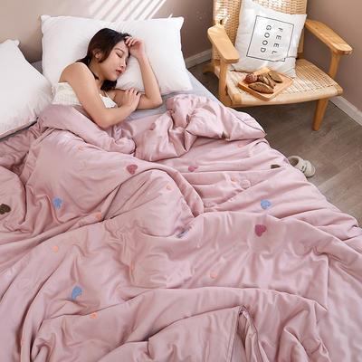 2020新款天丝莫代尔绣花夏被 200X230cm 心心相印 粉色
