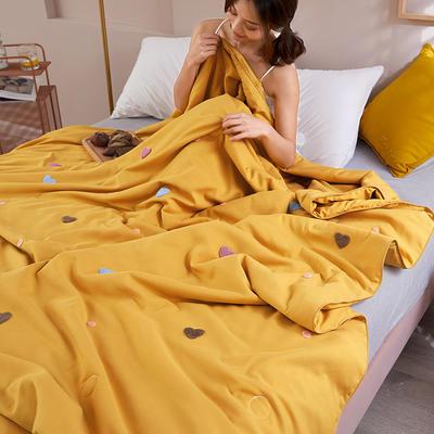 2020新款天丝莫代尔绣花夏被 200X230cm 心心相印 黄色