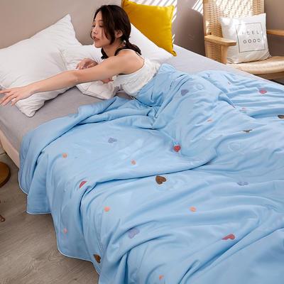 2020新款天丝莫代尔绣花夏被 200X230cm 心心相印 天蓝
