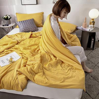 2020新款玻尿酸纯色凉感丝夏被 150x200cm 夜语-姜黄
