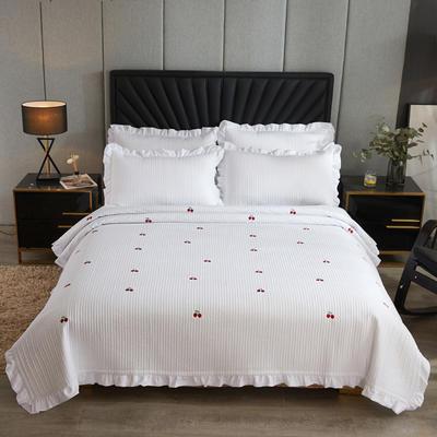 2020新款韩式水洗刺绣款床盖 200cmx230cm 白樱桃