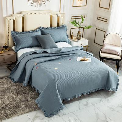 2020新款全棉水洗棉刺绣床盖 200cmx230cm单床盖 1蓝色星球